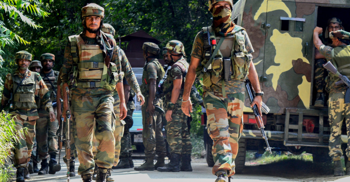 Indian Army soldiers on patrol in Kashmir
