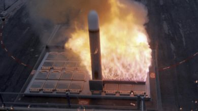Tomahawk cruise missile launch from Mk 41 Vertical Launching System