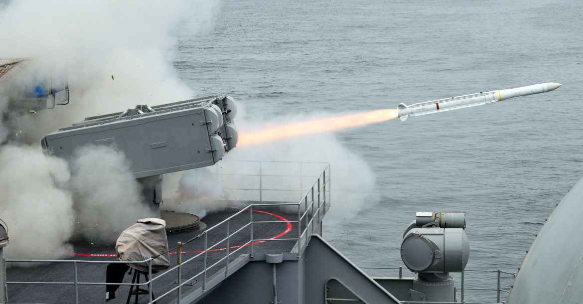 RIM-162 Evolved Sea Sparrow Missile launch