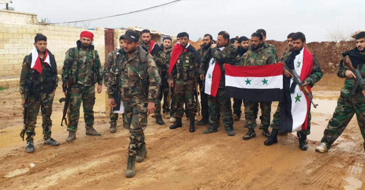 Syria NDF militia members near Jandaris in Efrin