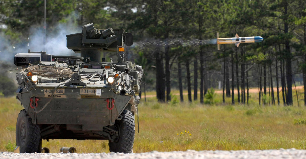 Stryker fires BGM-71 TOW anti-tank missile