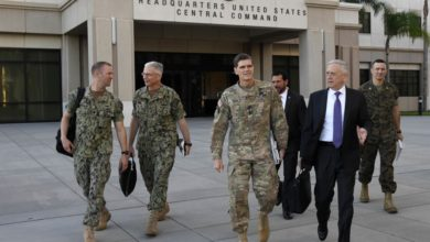 U.S. Army Gen. Joseph Votel and Secretary of Defense James Mattis
