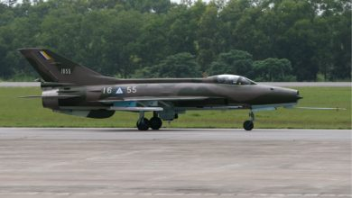 Myanmar Air Force F-7M fighter jet