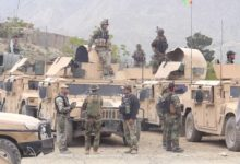 Afghan troops in Kosht province after a cross-border gunfight with Pakistani security forces