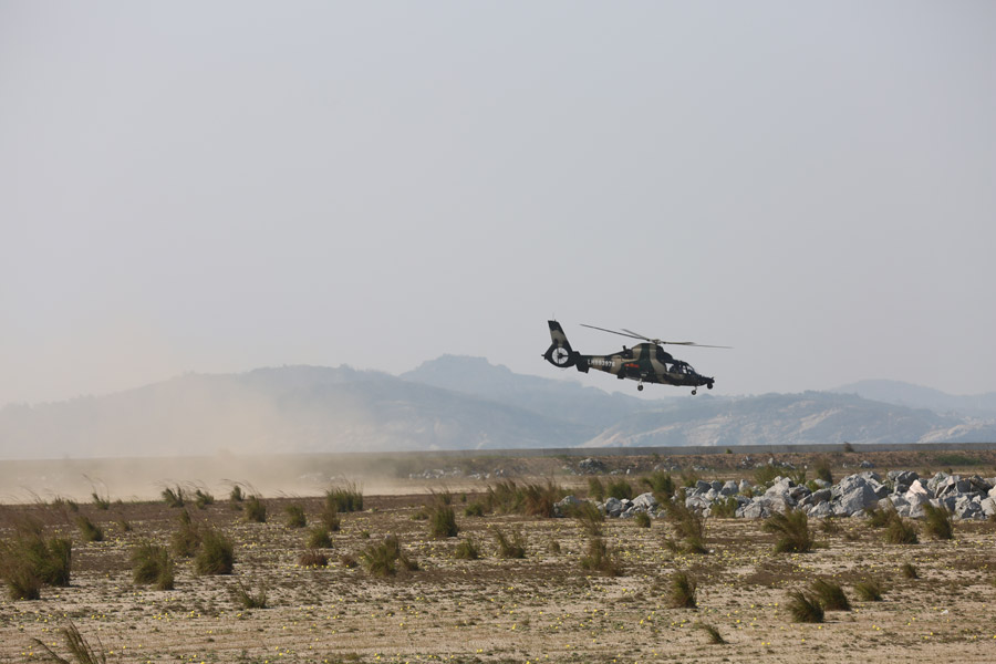Chinese People's Liberation Army attack helicopter takes part in an exercise