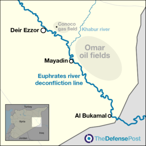 Deconfliction line, oil and gas fields, Deir Ezzor, Syria map
