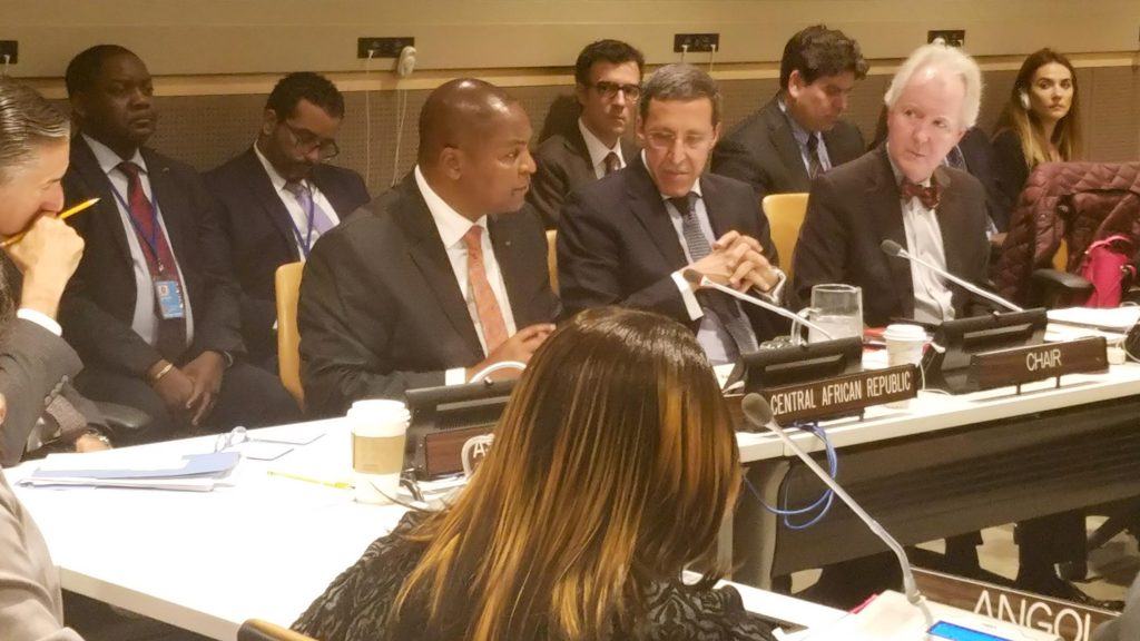Central African Republic President Faustin Archange Touadera speaks at uN meeting