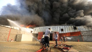 Fire at the World Food Programme warehouse in Hodeidah, Yemen