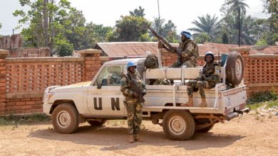 UN Minusca peacekeepers in Bangui, Central African Republic
