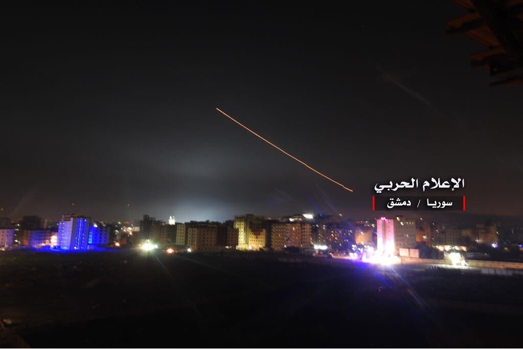 Missiles over Damascus on May 10, 2018.