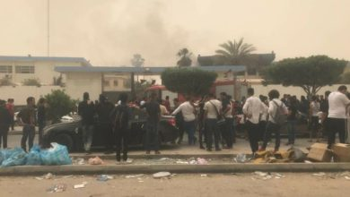 Aftermath of an attack on an election headquarters in Tripoli, Libya