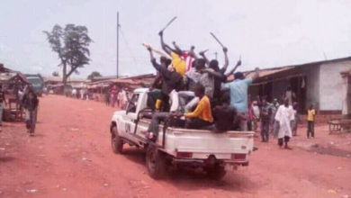 Militants in UN vehicle, Bambari, Central African Republic