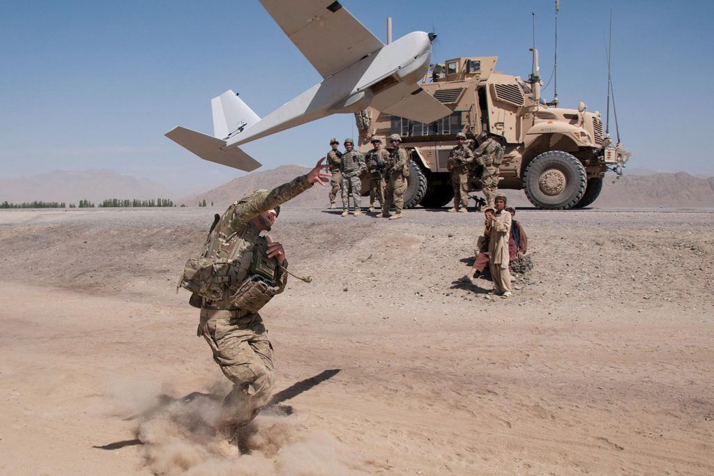 Launching an RQ-20 Puma drone