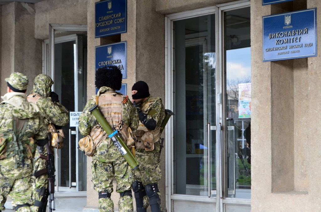 Pro-Russia rebels take control of Sloviansk city council in Donetsk Oblast, Ukraine