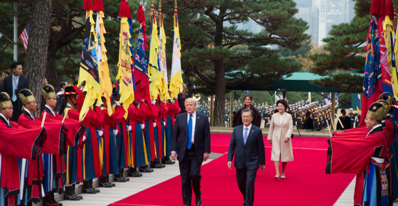 President Donald J. Trump and South Korean President Moon Jae-in arrive for talks in Seoul, South Korea