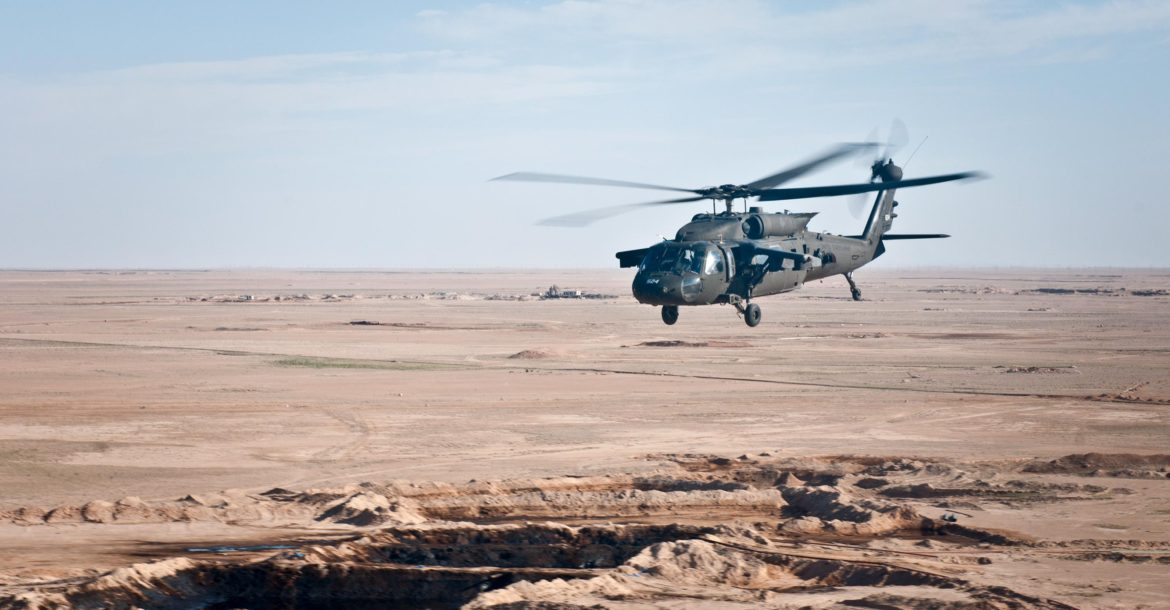 US Army UH-60 black Hawk helicopter over Syria