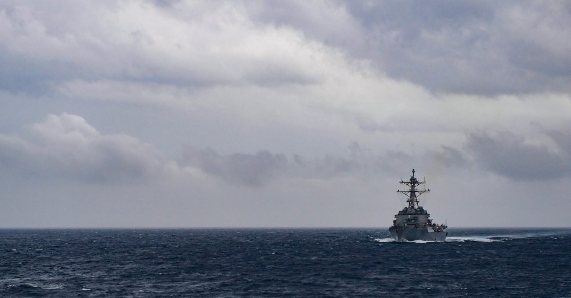 The Arleigh Burke-class guided-missile destroyer USS Howard (DDG 83) transits the Bay of Bengal during Malabar 2017.