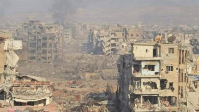 The remains of Yarmouk refugee camp near Damascus