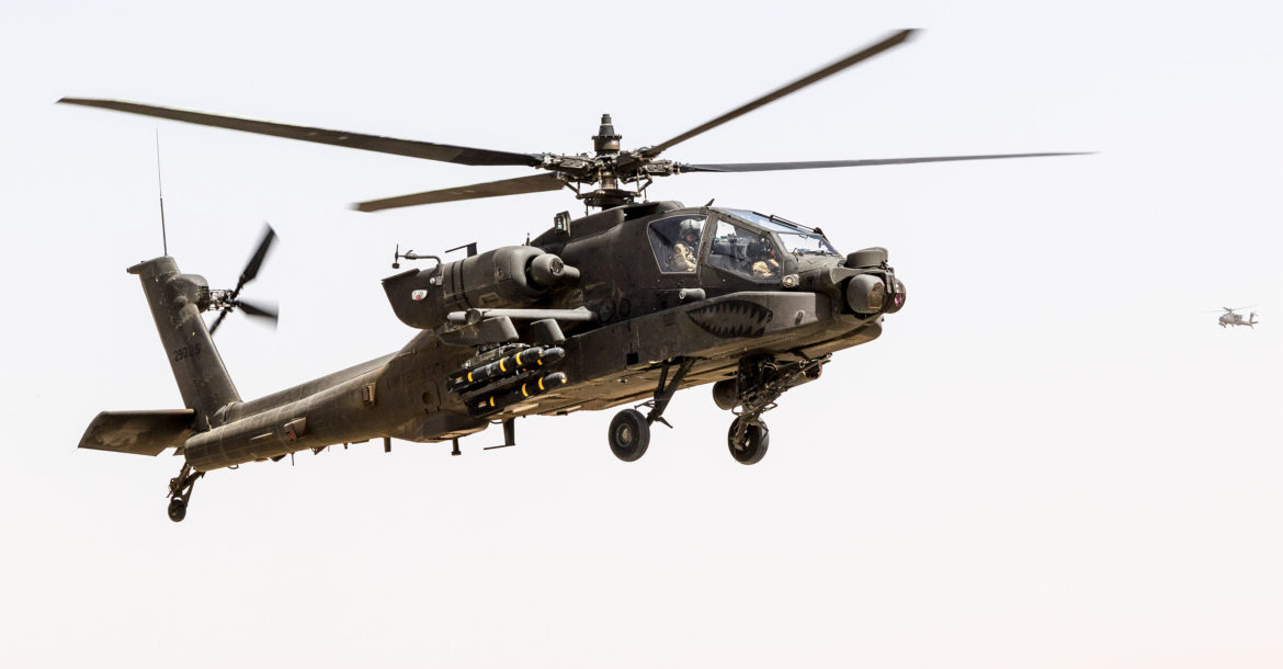 US Army AH-64E Apache helicopter in Afghanistan