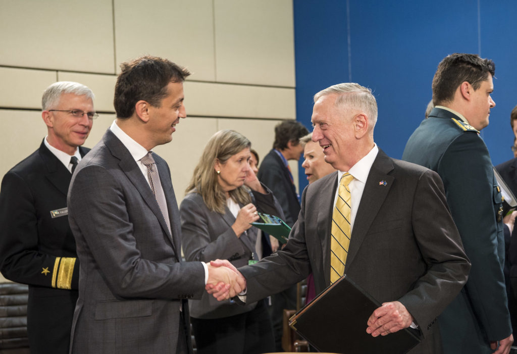 US Secretary of Defense Jim Mattis greets Montenegro's Minister of Defense Predrag Boskovic a North Atlantic Council meeting at the NATO Headquarters
