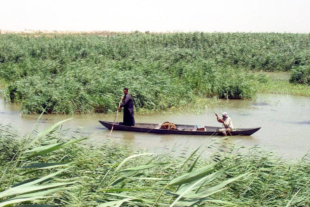 Iraq marshlan Arabs in a mashoof