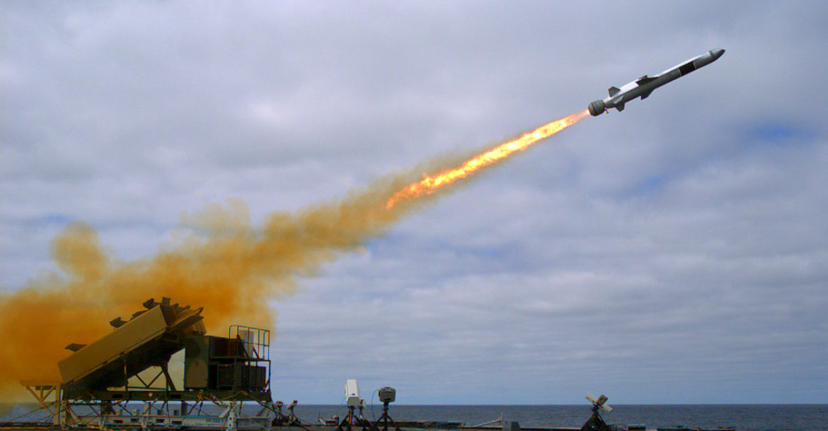 Naval Strike Missile launched from the USS Coronado (LCS 4)