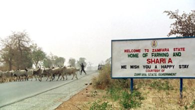 Sign outside of Zamfara state in Nigeria.