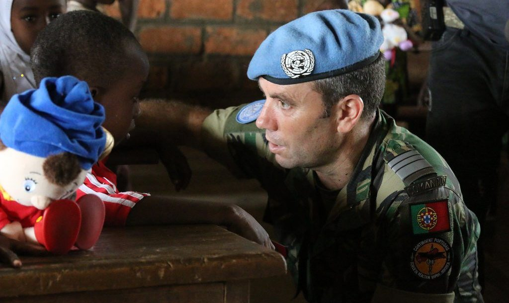 Portuguese solider with Minusca, the UN peacekeeping mission in the Central African Republic