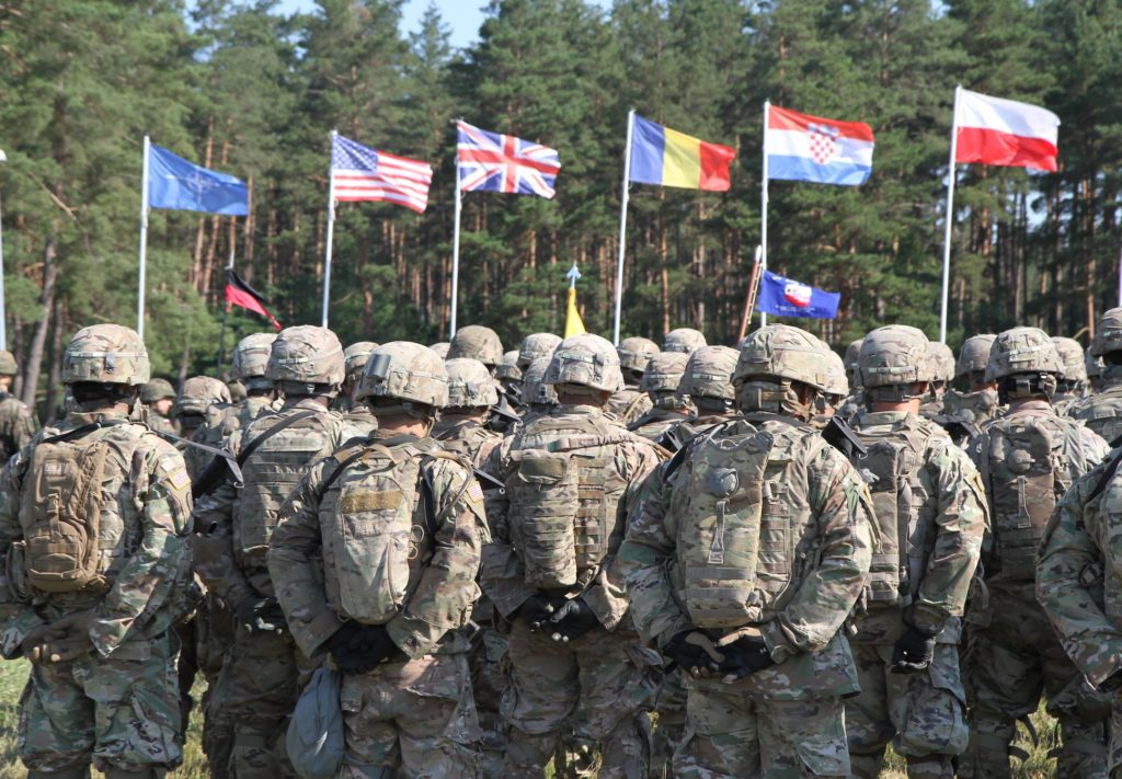 U.S. Army Soldiers participate in the opening ceremony of Saber Strike