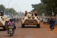 Minusca peacekeepers in Bangui, central African Republic