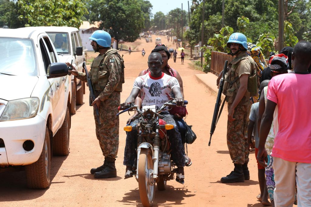 Minusca peacekeepers in Kaga Bandoro, Central African Republic