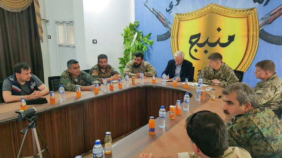 US and Coalition representatives meet with Manbij Military Council officials in Manbij, Syria