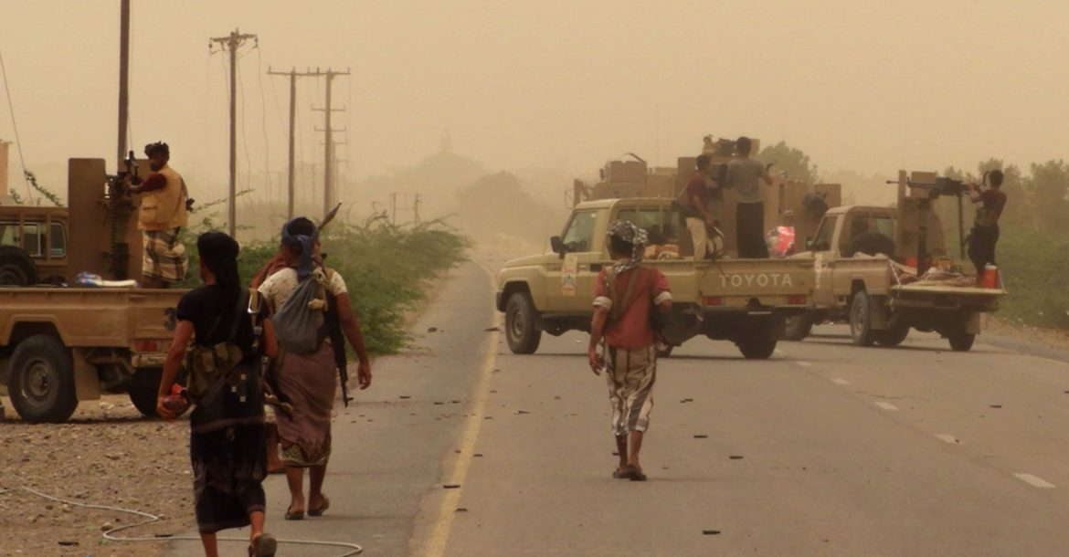Yemeni pro-government forces gather at the south of Hodeidah airport on June 15, 2018