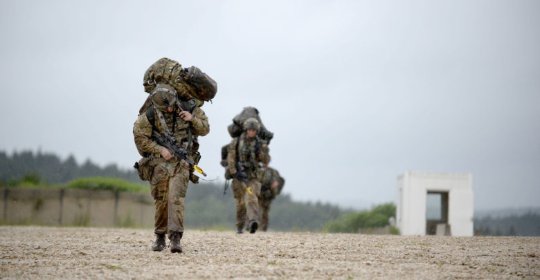 British Paratroopers training alongside NATO counterparts during the multi-national Exercise Swift Response in Germany in June 2016.