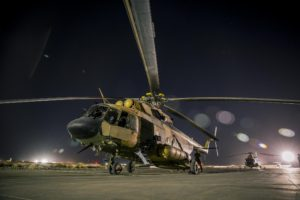 Afghan Air Force Mi-17 helicopter night flight training