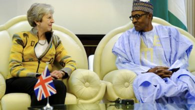 Theresa May meets Muhammadu Buhari