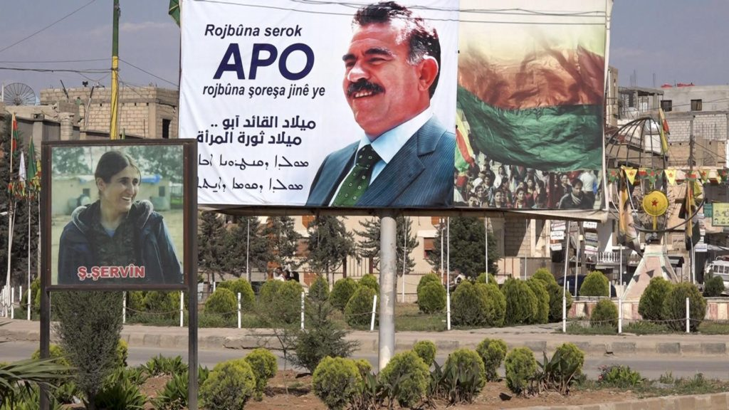 Poster of Abdullah Ocalan, the founder of the Kurdistan Workers' Party (PKK), Qamishli, Syria