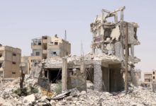 Destroyed building near the public park in downtown Raqqa, Syria, July 25, 2018. Image: Gernas Maao/The Defense Post
