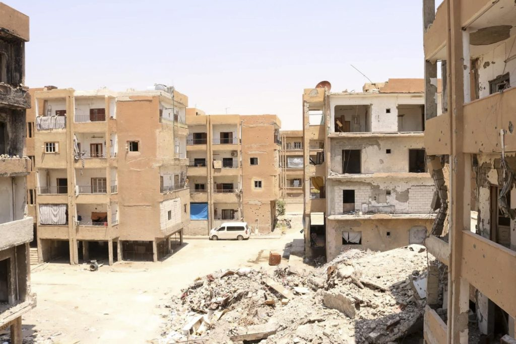 Apartment buildings near February 23 Street, Raqqa, Syria