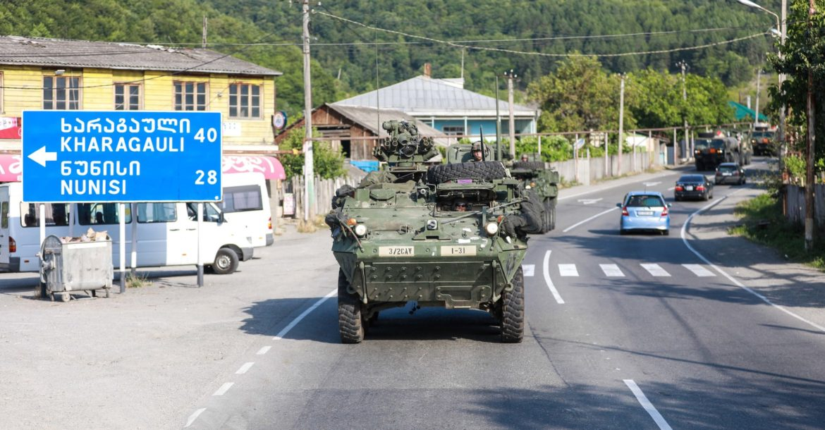 Soldiers from the US Army 3rd Squadron, 2d Cavalry Regiment conduct a tactical road march through western Georgia for Noble Partner 18