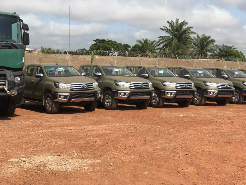 Vehicles donated by the US to CAR's military