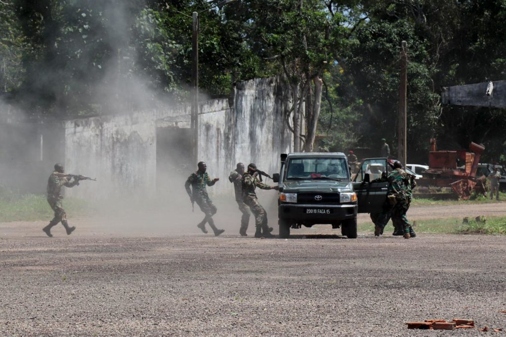 Central African Republic troops give a demonstration