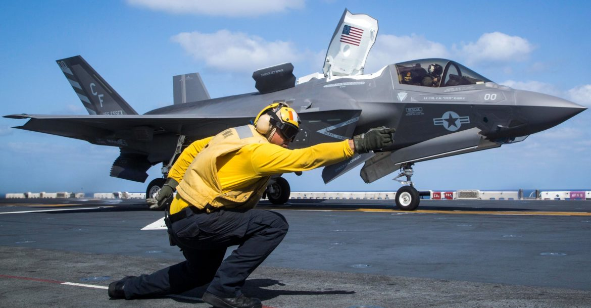 US Marine Corps F-35 launches from USS Essex