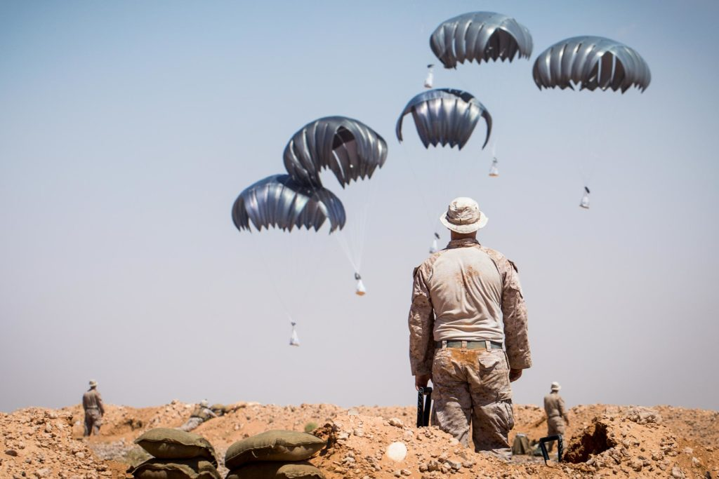 US Marines supply drop, At Tanf, Syria