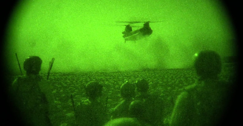 Afghan Special Security Forces and U.S. Special Operations Forces await exfiltration after night raids on compounds used by Taliban irreconcilables to plan and facilitate attacks in western Balkh province