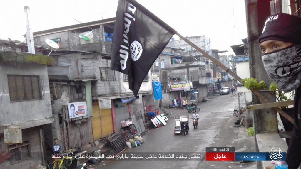 ISIS flag in Marawi, the Philippines