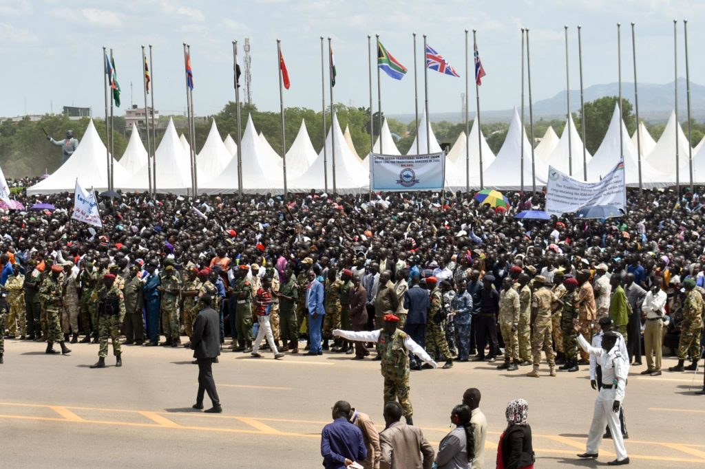 Crowds celebrate in Juba, South Sudan