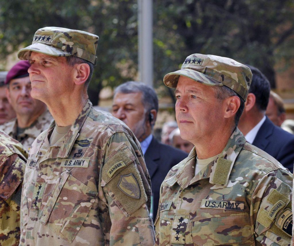 U.S. Army Gen. Joseph Votel, United States Central Command commander (left), and Gen. Scott Miller, Resolute Support Mission commander