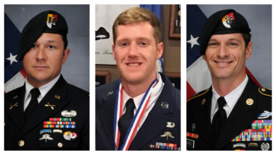 US Army CaptainAndrew Patrick Ross, Air Force Staff Sergeant Dylan J. Elchin andArmy Sergeant First Class Eric Michael Emond