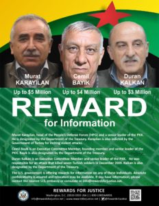 US offers rewards for information on senior PKK leaders